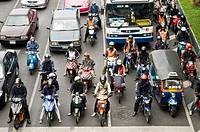Heavy traffic on the busy streets of Bangkok, Thailand.
