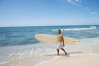 Man walking on beach with surfboard