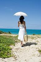 Rear view of a woman walking towards beach