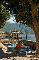 Switzerland, Ticino, Ascona Lago Maggiore Ferry pier couple