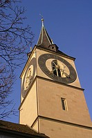 Switzerland, Zurich, St. Peters church, clock tower