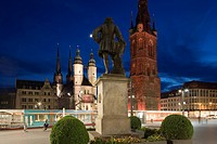 Church on central market square, Haendel monument and Red Tower, Halle an der Saale, Saxony Anhalt, Germany, Europe