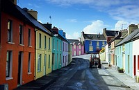Painted houses in Eyeries, Beara peninsula, Co. Cork, Ireland, Europe