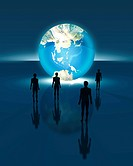 Figurines of people with illuminated globe