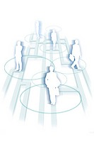 Silhouette of businesspeople against white background Digital Composite