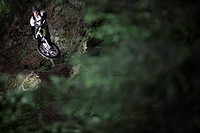 Mountainbiker jumping in the forest, Ischgl, Tyrol, Austria