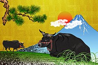 Japanese ox with Mt. Fuji, illustration