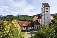 St. Mang basilica with church tower, Fussen, Allgaeu, Bavaria, Germany