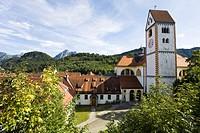 St. Mang basilica with church tower, Fussen, Allgaeu, Bavaria, Germany