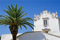 Church and palm tree under blue sky, Albufeira, Algarve, Portugal, Europe