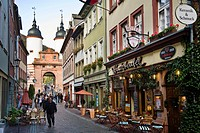 View along Steingasse to Bridge Gate, Heidelberg, Baden_Wurttemberg, Germany