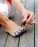 Nail polish on toenails.