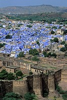 India _ View of old town and ramparts _ Meherangarh Fort, Jodhpur