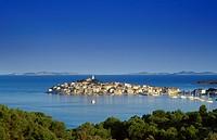 View at Primosten under blue sky, Croatian Adriatic Sea, Dalmatia, Croatia, Europe