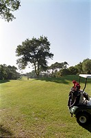 Golf club with vehicle, Moliets, Aquitaine, France