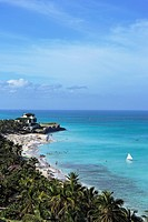 View along sandy beach to Villa Dupont, Varadero, Matanzas, Cuba, West Indies