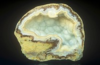 Quartz geode opened, Brazil, South America.
