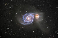 M51 NGC 5194 and 5195 Colliding Galaxies in Canes Venatici