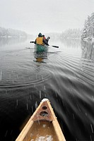 Canoeing on Nine Mile Lake, Muskoka, Ontario, Canada