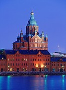Russian Orthodox Church called Uspensky Uspenski Cathedral in Helsinki from North Harbor