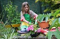 Young Gardener, girl potting plants in garden, Norfolk, England