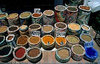 Market, spices and indigo dye for sale, Egypt