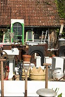 Junkyard, selling reclaimed tools, sinks, basins, fireplaces and general retro items, England