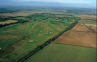 Golf, aerial view of golf course, just outside Cambridge, Cambridgeshire, England