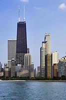 Chicago skyline and John Hancock Building, Chicago, Illinois.