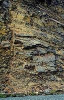 Sandstone in Brunner Coal Measures showing dip and strike strata. Near Granity New Zealand.