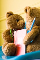 Teddy bears placed face to face, holding colored pencils and book