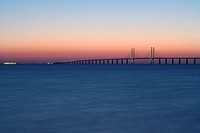 Oresundsbron in the sunset Sweden.
