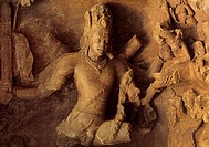Shiva under his destructive form, Bhairava. Elephanta Caves. Mumbai. Maharashtra. India.