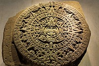 Aztec or Mexica Sun Stone or Stone of the Sun in the Museo Nacional de Antropologia in Mexico City
