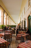 Terrace of a cafe at Trg Republike square in Split Croatia Europe