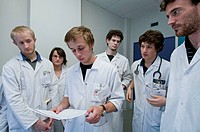 Photo essay at the department of dermatology at the Bocage hospital, University Hopital of Dijon, France. Medical students visiting the rooms of the p...
