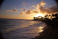 Serene sunsets on the west shore of Kauai around Lawai beach, Hawaii, USA