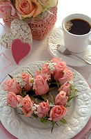 Heart of roses and coffee