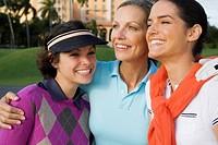 Three golfers smiling, Biltmore Golf Course, Biltmore Hotel, Coral Gables, Florida, USA