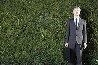 Businessman in front of hedge