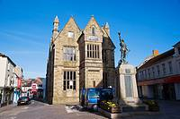 War Monument in front of Coinage Hall. Truro. Cornwall. England. UK.