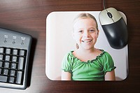 Personalised mousepad with photo of little girl on it