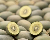 Kiwis, sliced in half, close up