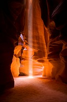 Sunbeam falling into a slot canyon, Antelope Canyon, Page, Arizona, USA
