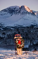 Christmas wreath hangs on a Flexible Flyer sled propped in a snowbank in Chugach State Park, Alaska