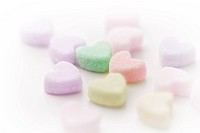 Close up of heart shaped sugar cubes, white background