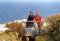 island of panarea, nanni moretti and renato carpentieri in the film cario diario, 1994, shot by nanni moretti