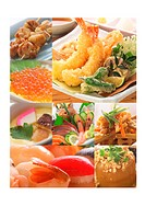 Montage of different seafood dishes