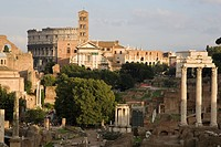 europe, italy, lazio, rome, roman forum and colosseum