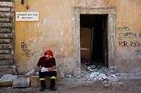 reconstruction 2009 june, fireman, l´aquila, abruzzo, italy